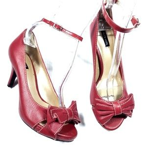 Alex Marie Red Leather Peeptoe Bow Heels
